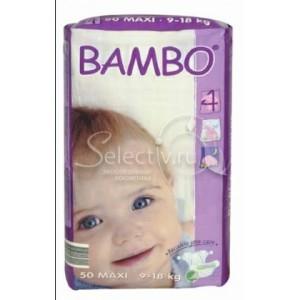 BAMBO детские Эко-подгузники Maxi 9-18 кг №50 эконом упаковка (50шт)